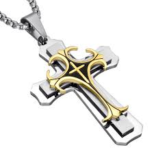 titanium pendant necklace images Us7 two tone gold color cross mens 39 pendant necklace trendy jpg