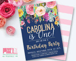 Invitation Cards For 50th Birthday Party Floral Girls Birthday Party Invitation First Birthday Party Navy