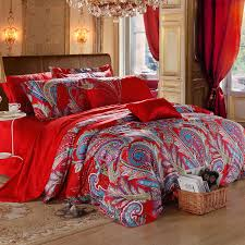 Bohemian Style Comforters Red And Blue Dance Paisley Indian Tribal And Bohemian Modern