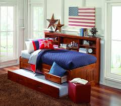 cool bedroom for teenage design with black polished wooden full astounding polished wooden full size captain bed design with trundle and drawers also bookcase