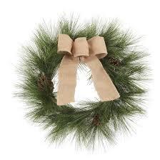 24 unlit needle pinecones burlap bow decorated artificial