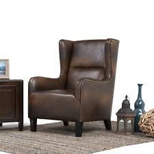 Queen Anne Wingback Chair Leather Leather Wingback Chair Ebay