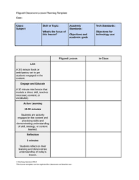 flipped classroom lesson plan template by napping in the teacher u0027s