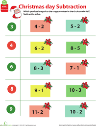 holiday math christmas subtraction worksheet education com