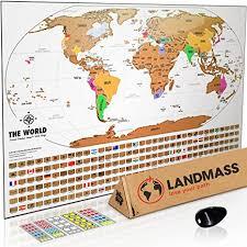 Landmass scratch off world map poster original travel