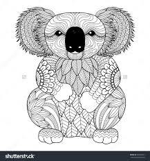 koala bear coloring page drawing zentangle koala for coloring page shirt design effect