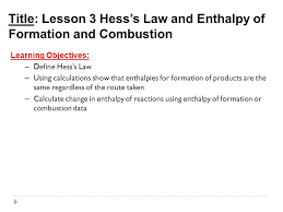 title lesson 3 hess u0027s law and enthalpy of formation and