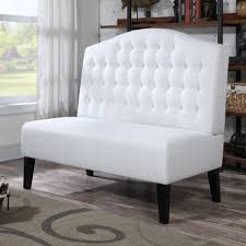 classy white tone dining banquette with tufted back of upholstered