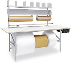 packing table with shelves deluxe packing tables in stock uline