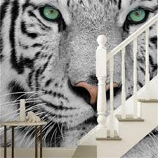 free shipping photowall white tiger black and white 3d