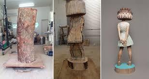 yoshitoshi kanemaki creates surreal wooden sculptures that will