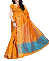 golden orange color shop sarees online in golden yellow colour from simaaya mayl2700
