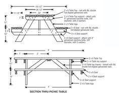 Foldable Picnic Table Bench Plans by Picnic Table And Bench Seat Combination Section Plans Furniture