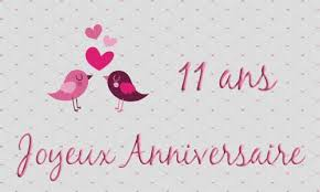11 ans de mariage carte anniversaire mariage 11 ans oiseau coeur