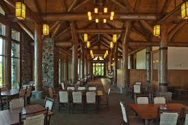 Grand Canyon Lodge Dining Room by Shabby Four Cream Rectangle Shelves On The Brown Wooden Poles With