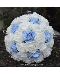white blue roses light blue brides bouquet artificial bridal posy with white