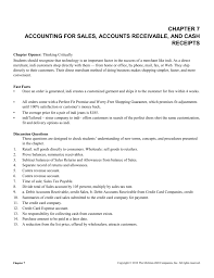 chapter 7 accounting for sales accounts receivable and cash receipts