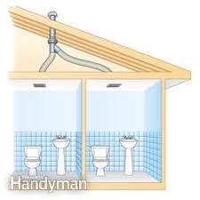 bathroom exhaust fan roof vent cap use an in line fan to vent two bathrooms family handyman