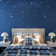 Fabric Wall Murals by Bedroom Starry Night Kids Bedroom Wallpaper Dark Blue Non Woven