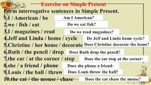 времена группы simple exercise on simple present form positive