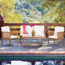 Acacia Wood Outdoor Furniture Durability by Carolina 4 Piece Outdoor Acacia Sofa Set By Christopher Knight