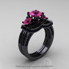 pink and black engagement rings pink diamond black band engagement rings lake side corrals