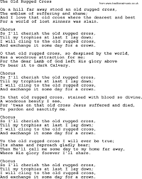 The Old Rugged Cross Made The Difference Sheet Music Lyrics To Old Rugged Cross Roselawnlutheran