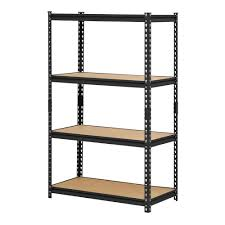 Industrial Metal Bookshelf Black Metal Industrial Shelving Unit With 4 Adjustable Shelves 60