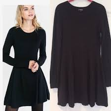 Long Sleeve Black Fit And Flare Dress 73 Off Express Dresses U0026 Skirts Express Hint Of Cashmere Fit
