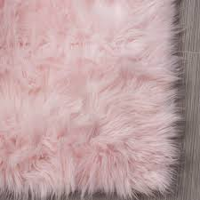 Light Pink Area Rugs House Of Hton Woven Faux Sheepskin Light Pink