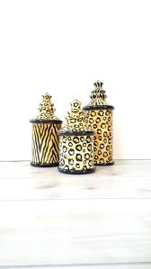 Cheetah Print Bathroom Set by Pottery Wall Pockets 3pc Canister Set Laurie Gates Designs La