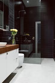 Bathroom With Black Walls Black Bathroom Tile Home Interior Design Ideas