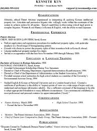 Example Of A Written Resume by Sample Professional Resume Patent Attorney