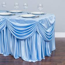 8 ft table skirt ft drape chiffon all in 1 tablecloth pleated skirt serenity blue