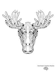 elk head digital coloring page u2014 zen brain design