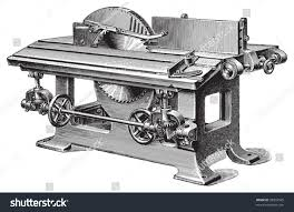 old wood cutting machine vintage illustration stock vector