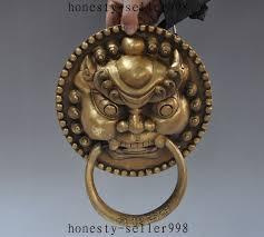 foo dog door knocker 11 brass copper guardian foo dog lion mask door