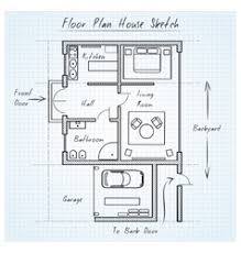 3 bed furnished floor plan royalty free vector image