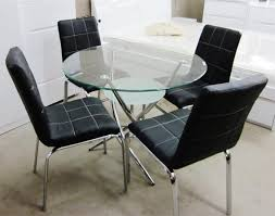 Black Glass Dining Table And 4 Chairs Glass Dining 5 Pieces Set With 4 Pu Leather Chairs