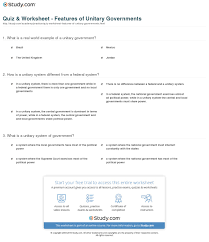quiz u0026 worksheet features of unitary governments study com