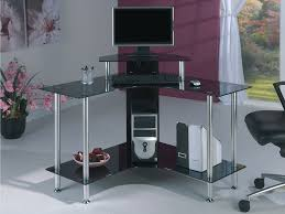 Small Black Corner Computer Desk Furniture Iron Grey With Glass Table Corner Computer Desks