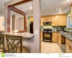 American Small House American Light Wood Kitchen Interior Stock Photo Image 57329345