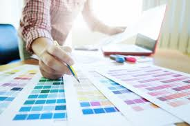 graphic designer at work color swatch samples photo free download