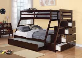 Walter Espresso Twin Full Bunk Bed With Steps Stairway Drawers Kids - Espresso bunk bed