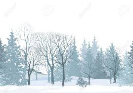 christmas snow tree border snowy forest seamless pattern tree