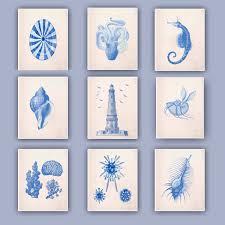 nautical blue prints blue seashells sea horse lighthouse zoom