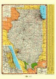 Chicago Map Poster by Illinois Road Map 1940 Poster Vintage Chicago Inset Lake