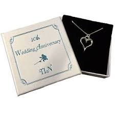 10 year anniversary present tin necklace 10th wedding anniversary gift ten 10 year