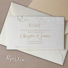 What Is Rsvp On Invitation Card Gold Or Silver Foil Confetti Reply Card With Envelope Rsvp U2013 Paper