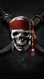 pirates of the caribbean logo skull knife black symbol red band